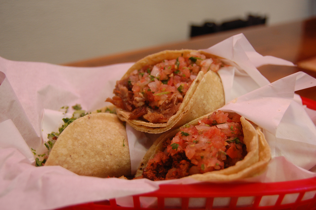 on the picture you see a taco with filling (salpico)