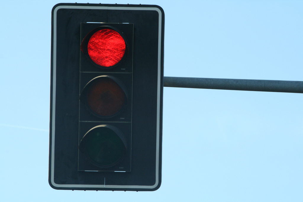 on the picture you see red traffic light