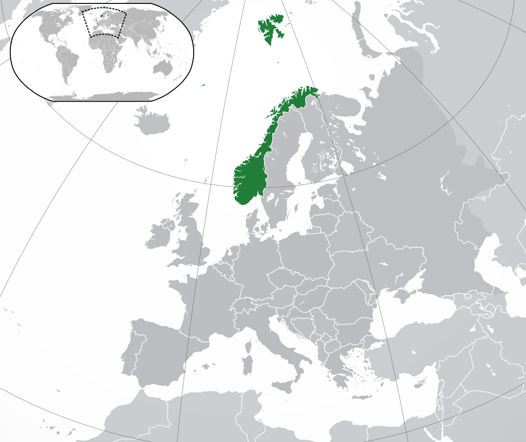 on the picture you see a map. The country Norway is in green color